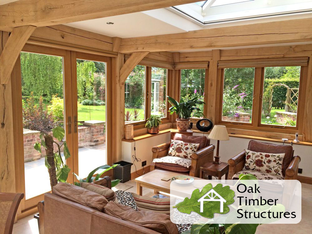Solid oak garden rooms oak timber structures for Timber garden rooms