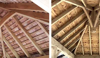The differnce made by boarding the roof of your oak gazebo