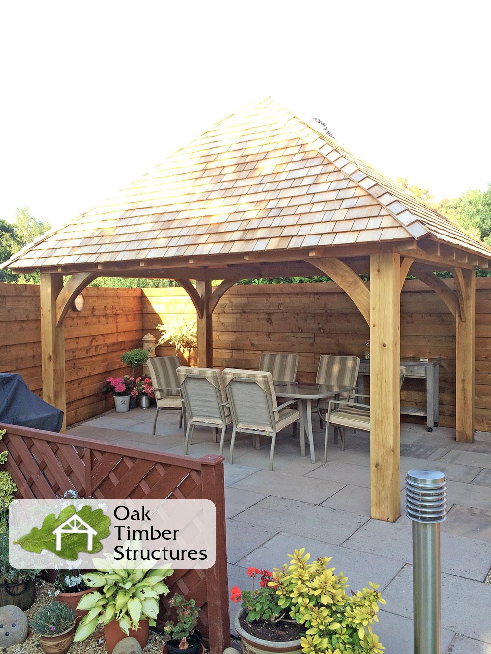 Solid oak gazebos oak timber structures for Large gazebo kits