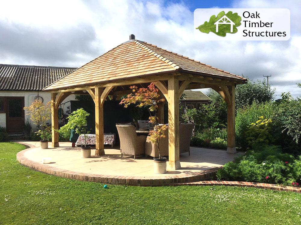 3m x 6m oak gazebo with 175mm posts