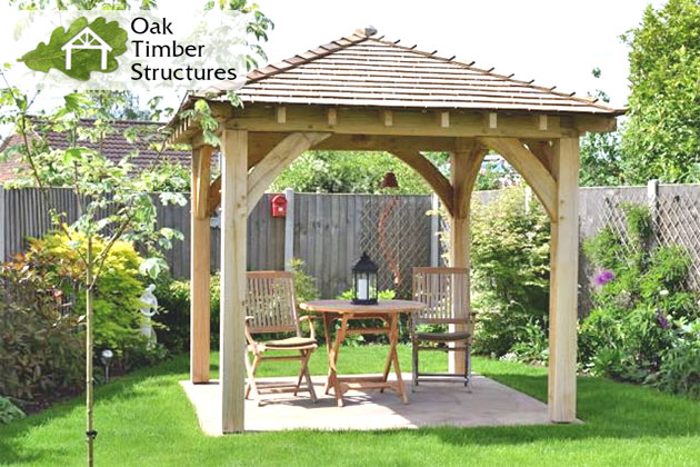 2.5m square oak gazebo with 150mm posts and a shallower roof