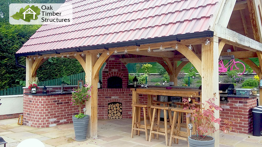 4m x 6m oak gazebo with gable roof and brick overn