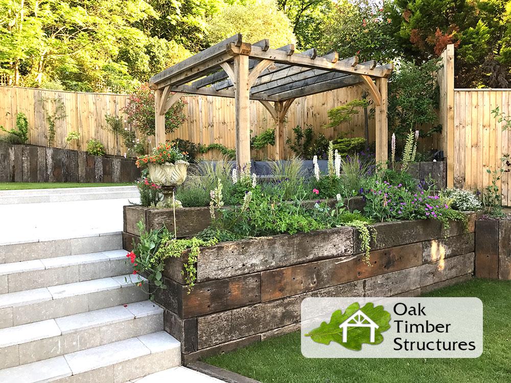 Solid oak pergolas oak timber structures for L shaped pergola