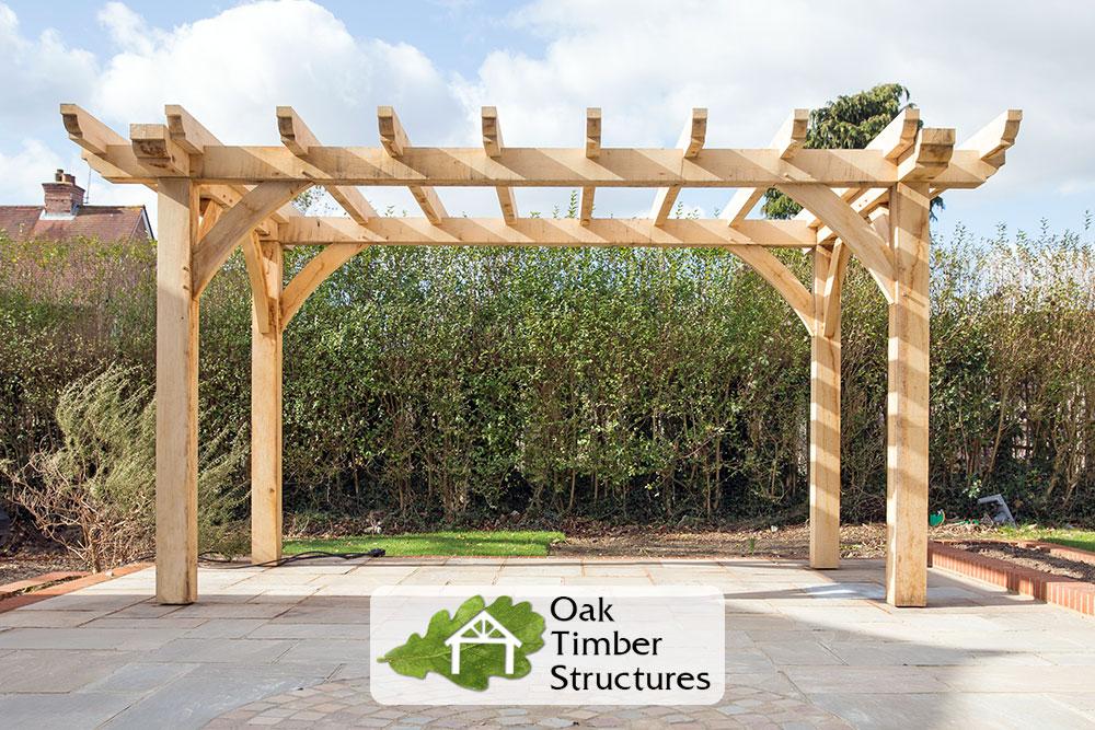 Oak pergola build project photos oak timber structures for Design your own pergola
