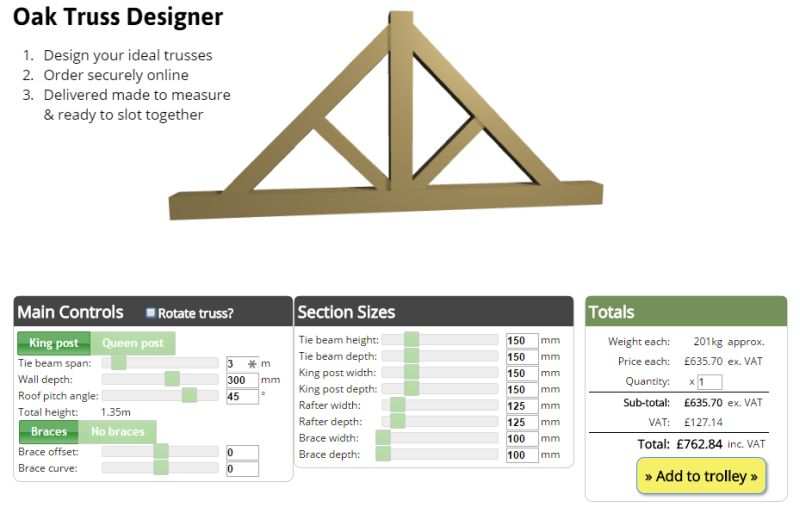 Oak trusses design and buy online oak timber structures for Buy roof trusses