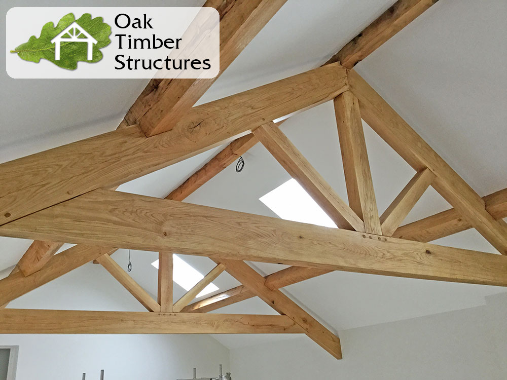 Truss photo gallery oak timber structures for Pre made trusses price